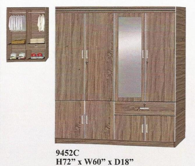 NiceHome Furniture OFFER SALE 4DOOR with mirror Wardrobe model-9452C
