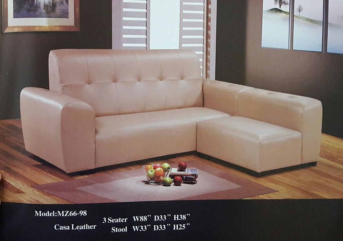 NiceHome Set Promo 3seater+stool set model - 66-98 casa leather