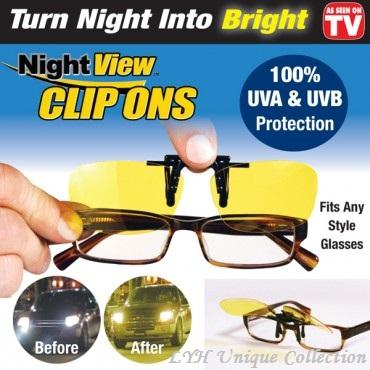 Night View Clip On Glasses Anti Dazzle for Car Driving Specs