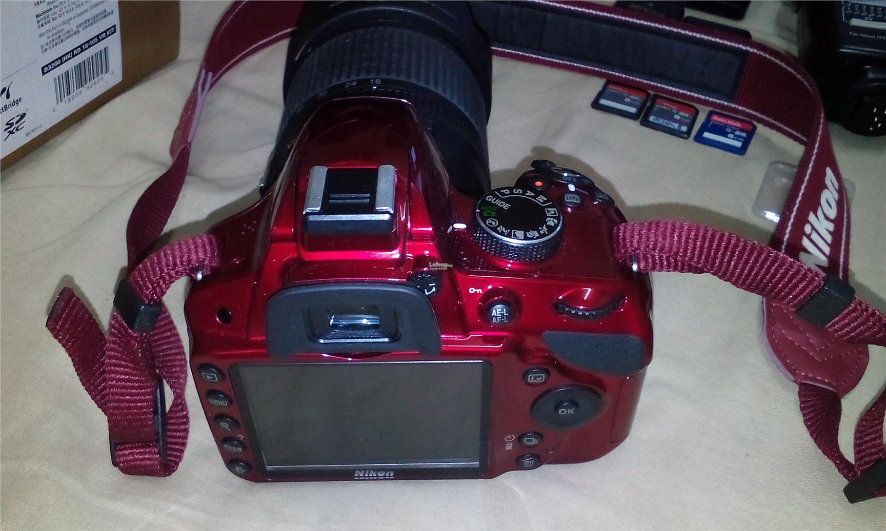 NIKON D3200 Kit AF-S 18-105mm VR Lens- Red With Nissin Di622 Mk2