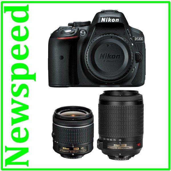 Nikon D5300 AF-P 18-55mm + 55-200mm VR II Twin Lens +8GB+Bag