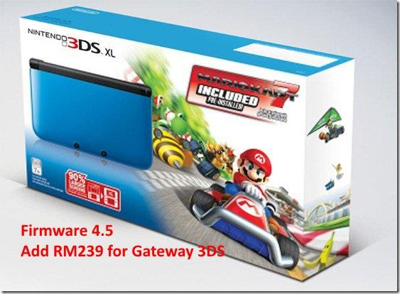 Nintendo 3DS XL Blue with Mario Kart 7 firmware 4.5 (last one)