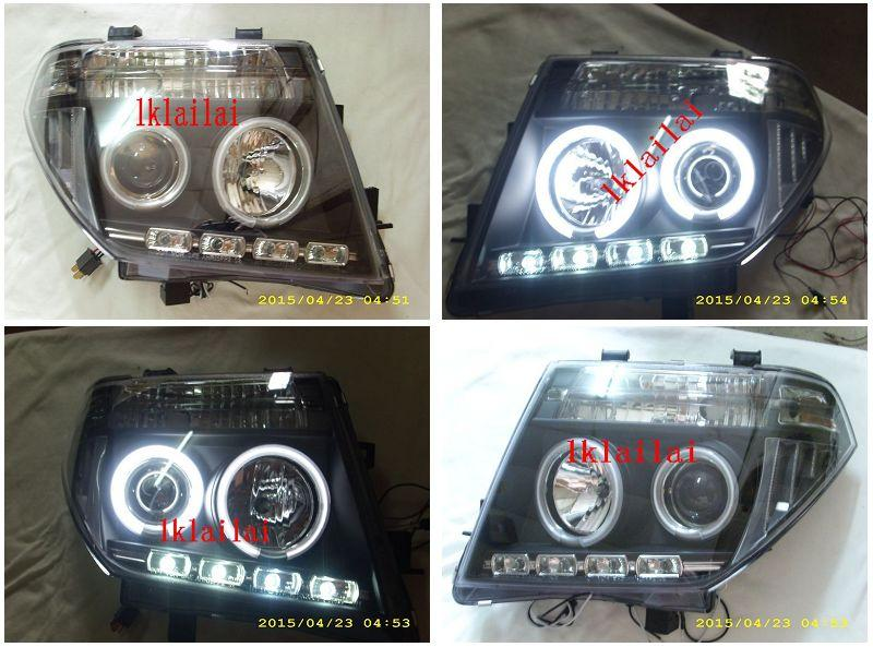 Nissan Navara `07 CCFL Ring Projector Head Lamp LED DRL R8