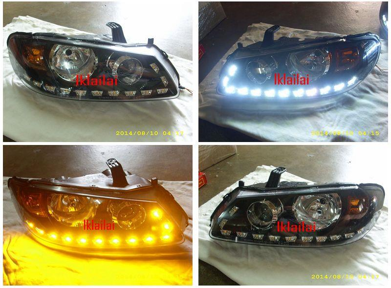 Nissan Sentra N16 03 Projector Head Lamp Black + 2-Function LED DRL R8