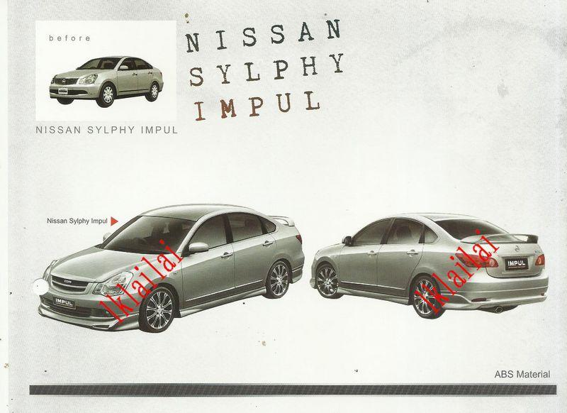 Nissan Sylphy Impul Style Full Set Body Kit ABS Skirting + Spoiler