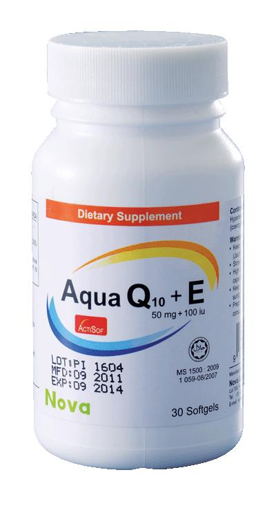 Nova Aqua Q10 50mg + E 100iu (3x30's) (Improve Energy) (Co Enzyme Q10)