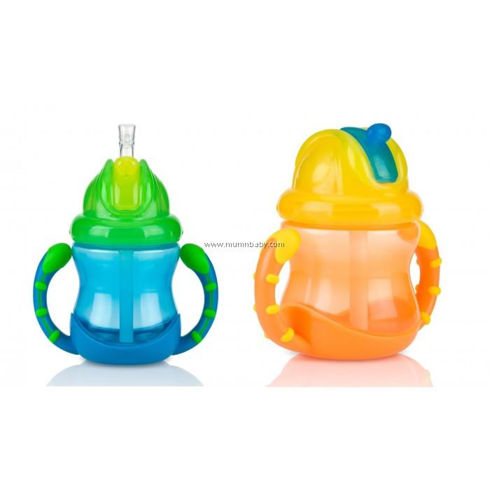 NUBY GRIP AND SIP FLIP-IT FAT STRAW CUP 8OZ