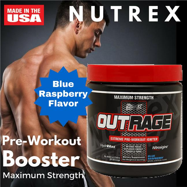 Nutrex, Outrage, Extreme Pre-Workout Igniter, Blue Raspberry 147gm