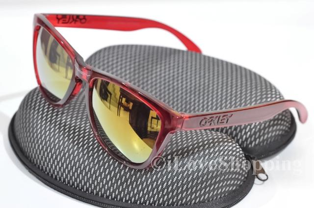 OAKLEY FROGSKINS~ACID RAIN RED~FREE OAKLEY Hard Case~IOK882