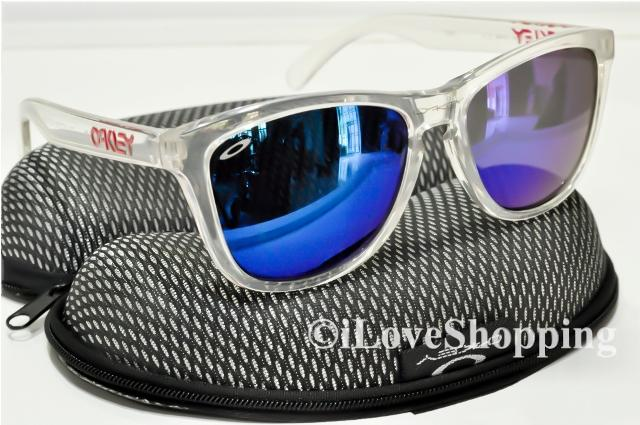 OAKLEY FROGSKINS~TRANSPARENT~BLUE IRIDIUM~FREE OAKLEY Hard Case~IOK869