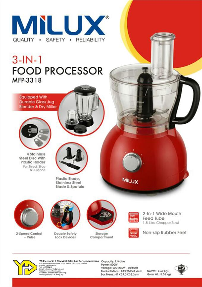 [BEST OFFER!!] MILUX 3-IN-1 FOOD PROCESSOR MFP-3318