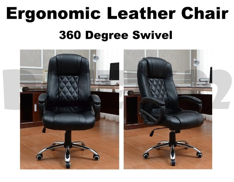 Office Computer PU Leather Chair Ergonomic and Tilt Lock Mechanism