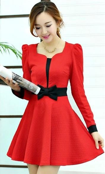 OL Mix Colour Show-slim Long-sleeve Dress (Red)