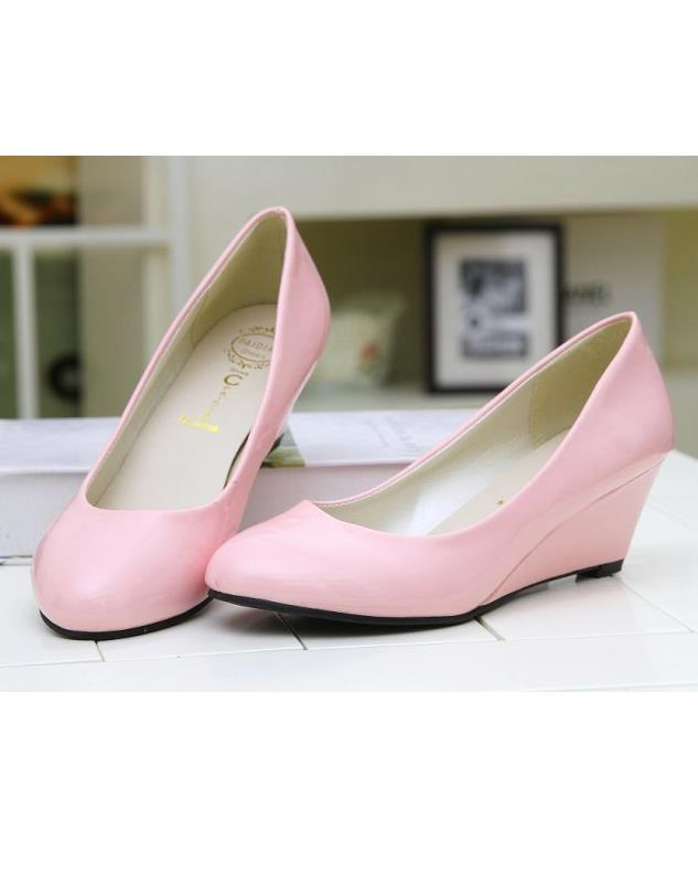OL-style Enamel Leather Wedge Heel Pump Shoes (Pink)