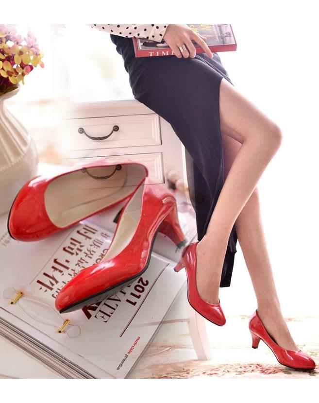 OL-style Metallic High Heel Shoes (Red)