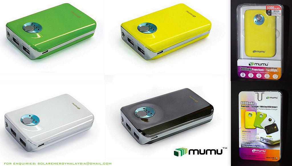 ONE DAY OFFER!!Mumu 8000 8000mAh DUAL USB Powerbank(better than vivis)