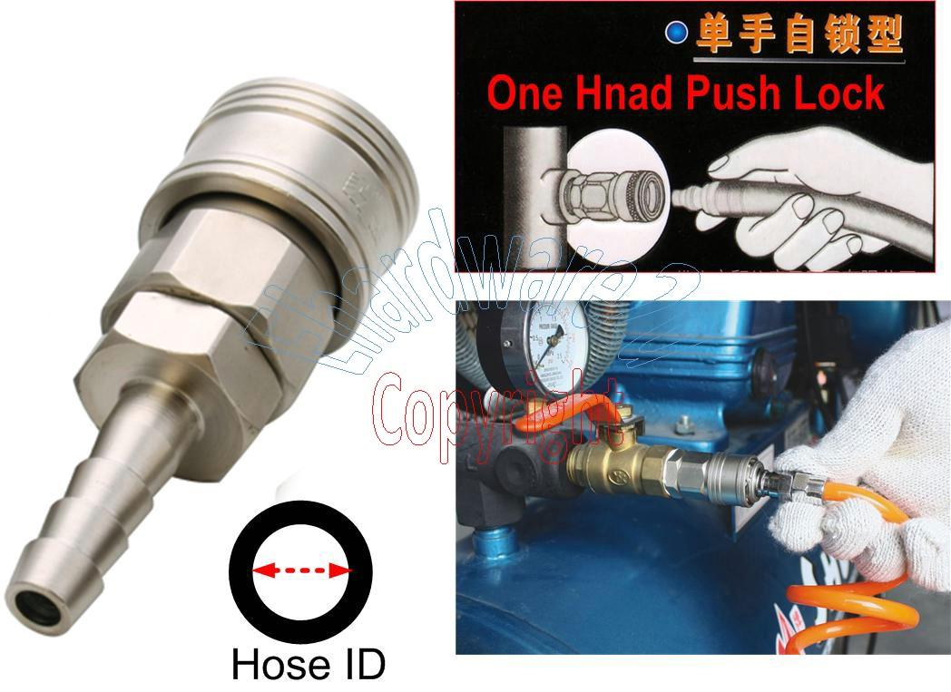 "One Hand Push Self Lock Quick Coupler 1/4"" Hose Barb (BSH20)"