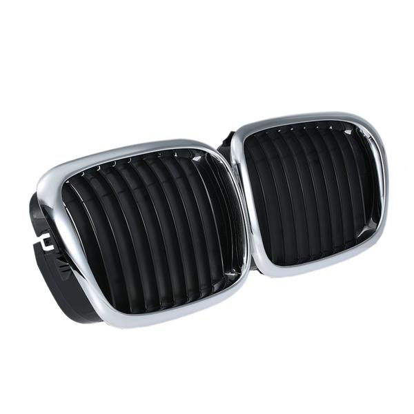 One Pair Half Silver Color Plating Front Kidney Grille Black