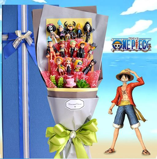 One Piece Cartoon Boy Bouquet Flower Birthday Valentine Christmas Gift