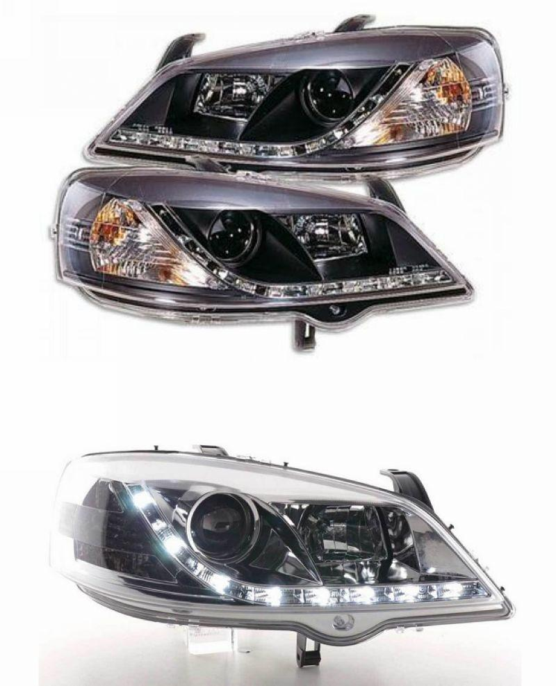 Opel ASTRA G 98-03 DRL R8 Projector Head Lamp Black/Chrome Housing