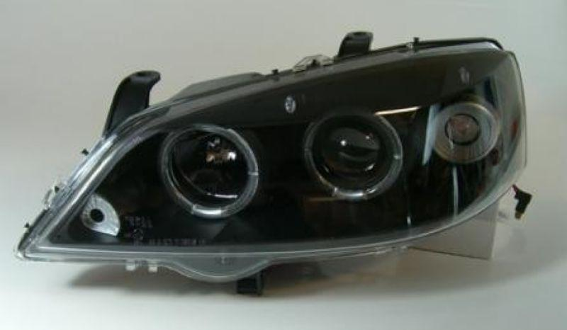 Opel ASTRA G 98-03 LED Ring Projector Head Lamp Black/Chrome Housing