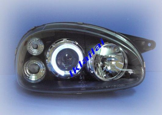 OPEL CORSA '93-98 Crystal Projector LED Ring Head Lamp Black/Chrome Ho