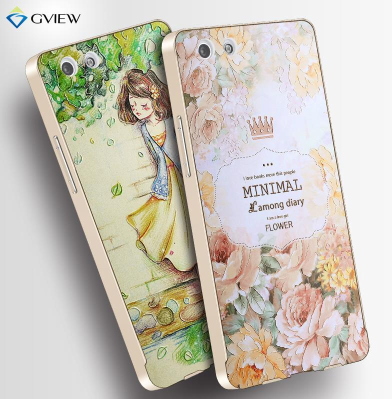 OPPO R1X R1C 3D Relief & Metal Frame Case Cover Casing + Free Gift