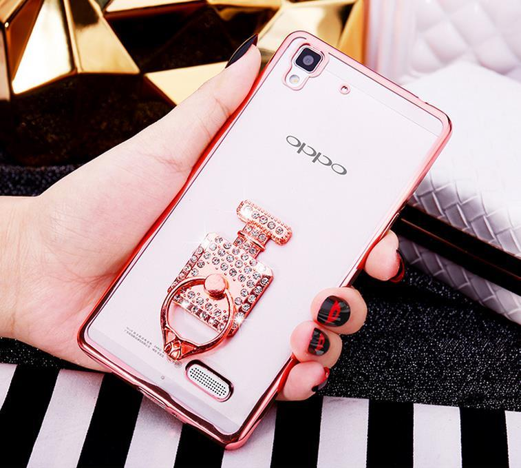 OPPO R7 Lite R7S Silicone Case Cover Casing + Diamond Phone Ring Stand