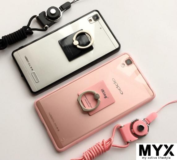 Oppo R7s Soft TPU Casing Case Cover Lanyard + Ring