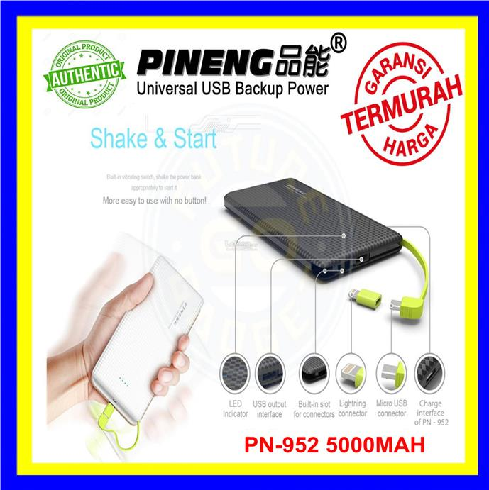 [ORI] 100% Original Pineng PN952 PowerBank PN-951 5000mah Power Bank