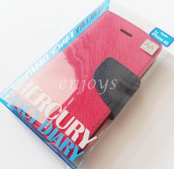 ORI MERCURY Fancy Diary Book Case Pouch Apple iPhone 4 4S ~Hotpink