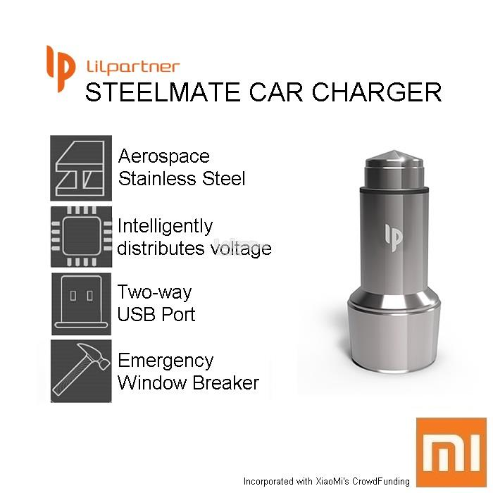 Ori XIAOMI Mi LiLpartner SteelMate Car Charger - Dual Two Way USB 3.1A