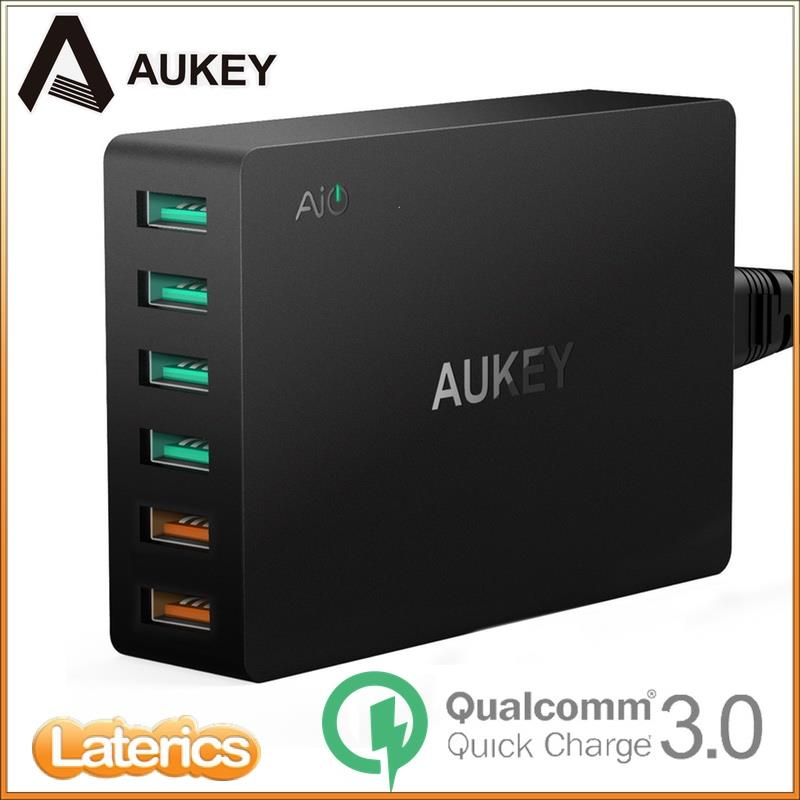Original AUKEY 6 Port USB Charger with Dual Quick Charge 3.0 Port QC3.