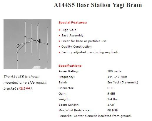 Original Diamond A144S5R VHF Base Station Yagi Beam for @ icom yaesu
