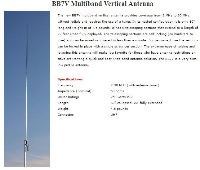 Original Diamond BB7V Multiband Vertical HF Antenna for @ icom yaesu