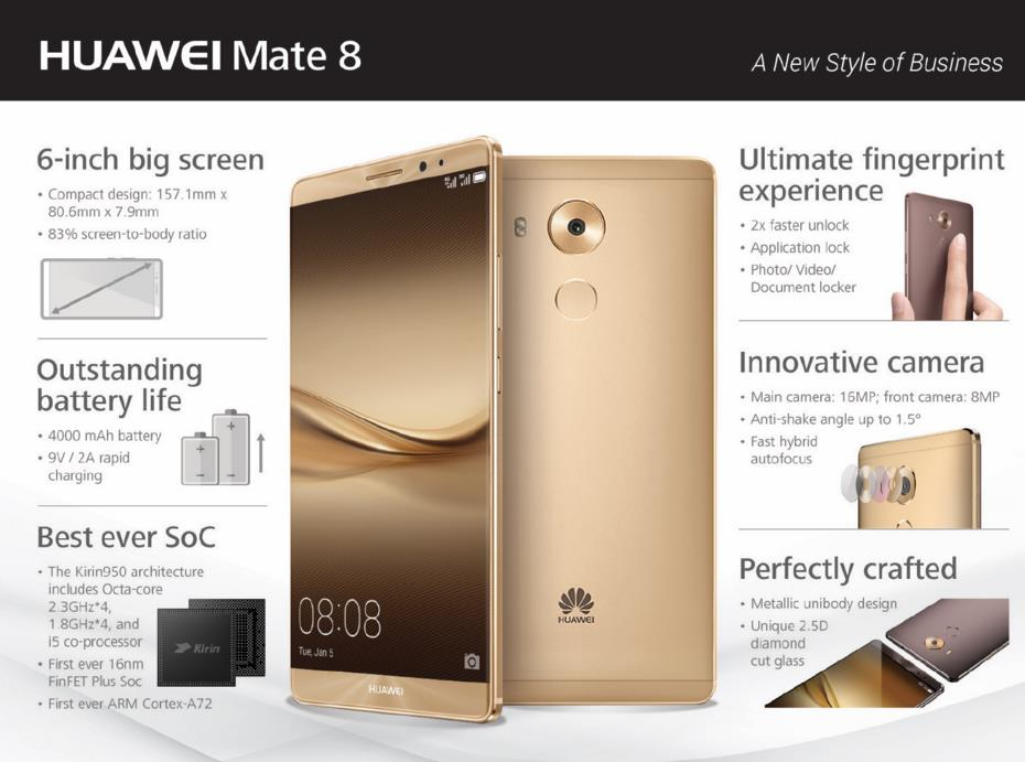 (ORIGINAL) HUAWEI WARRANTY Huawei Mate 8 LTE 16MP 64GB