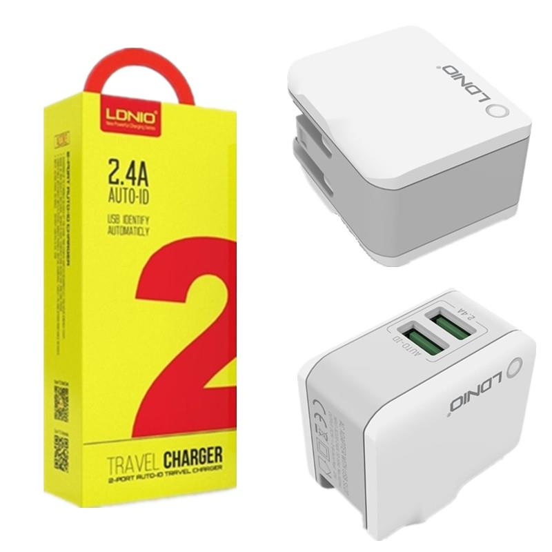 Original LDNIO 2.4A 2 Port Auto-ID Travel Charger (UK Plug)