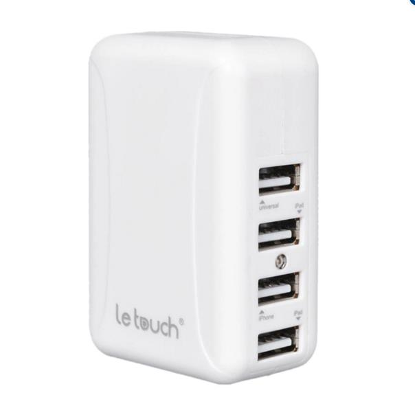 Original Le Touch Power Bin 4.8A 4 USB Port Quick Travel Charger - Whi