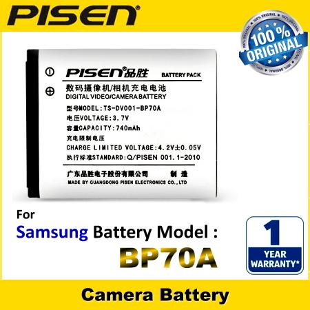 ORIGINAL PISEN Camera Battery Samsung BP70A BP70EP SLB-70A SLB70A