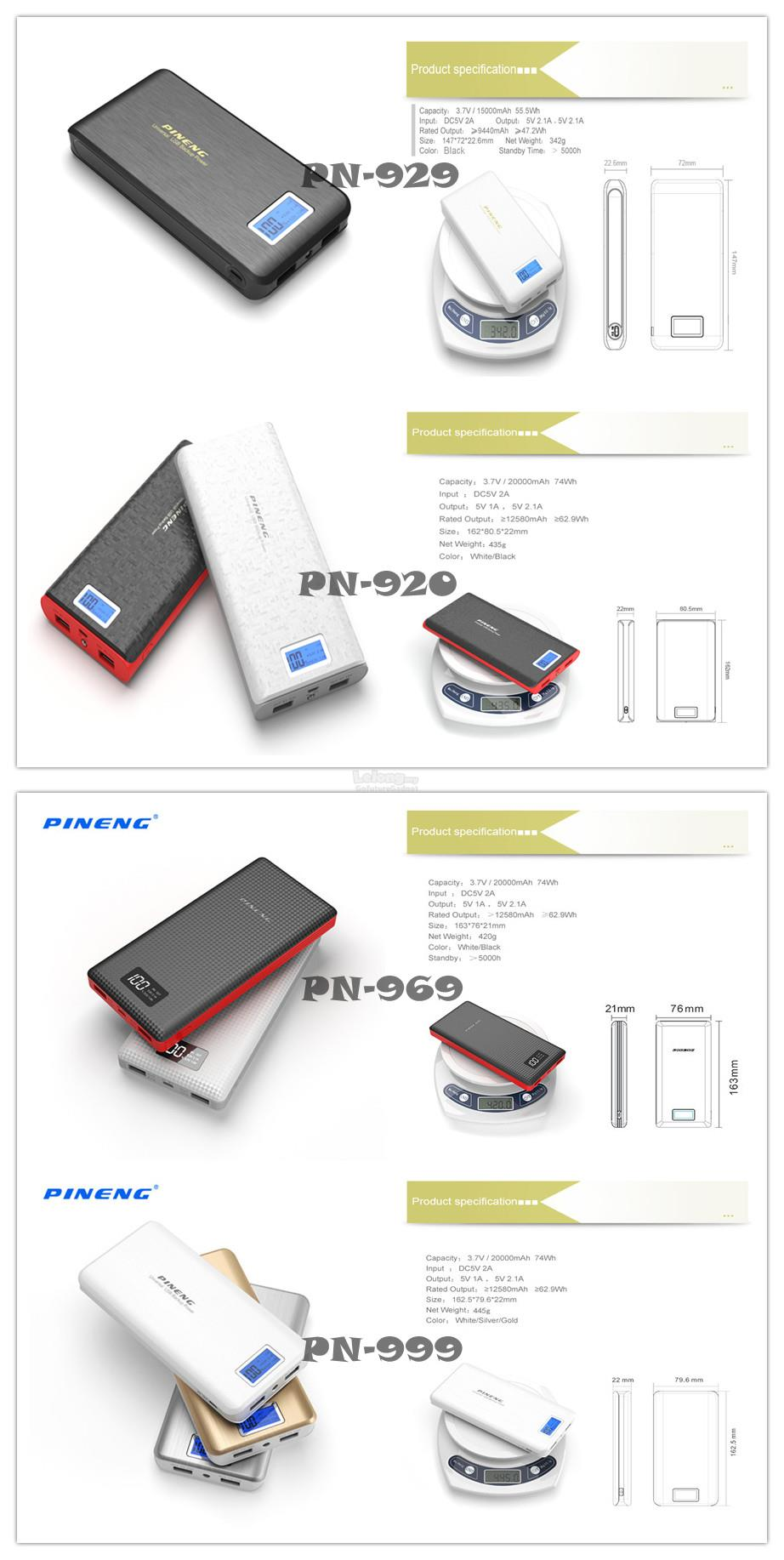 ORIGINAL POWER BANK PINENG PN999 PN969 PN920 PN929 PN963 20000MAH