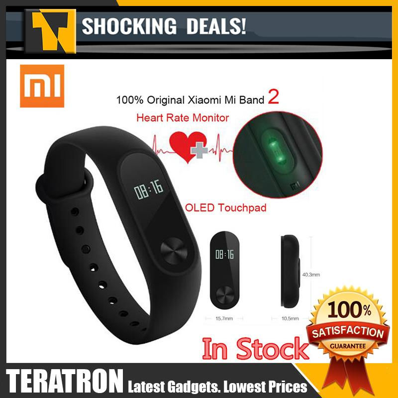 Original XIAOMI Mi Band 2 Heart Beat Touch MiBand - Ready Stock
