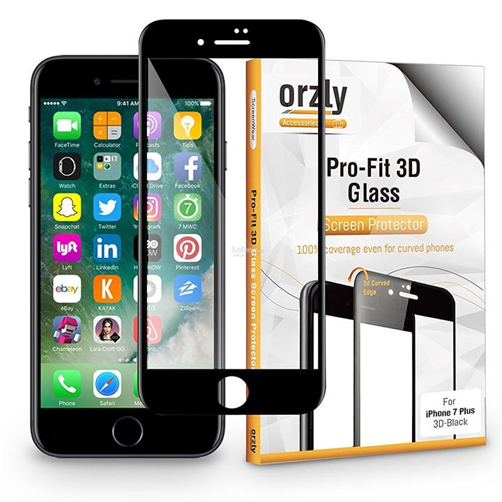 Orzly 3D Pro-Fit Tempered Glass [Full Cover] for iPhone 7 / 7 Plus