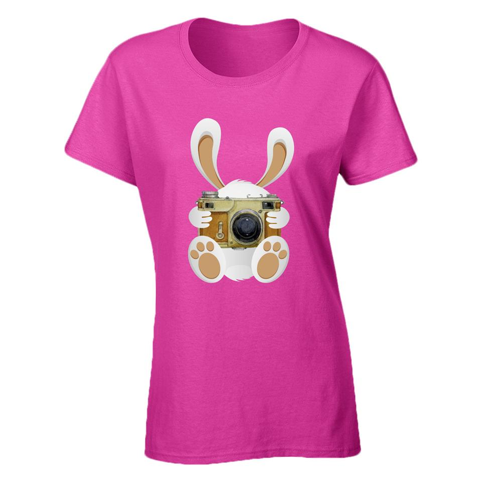 OS531F OSUMMER Rabbit Camera Female T-shirt