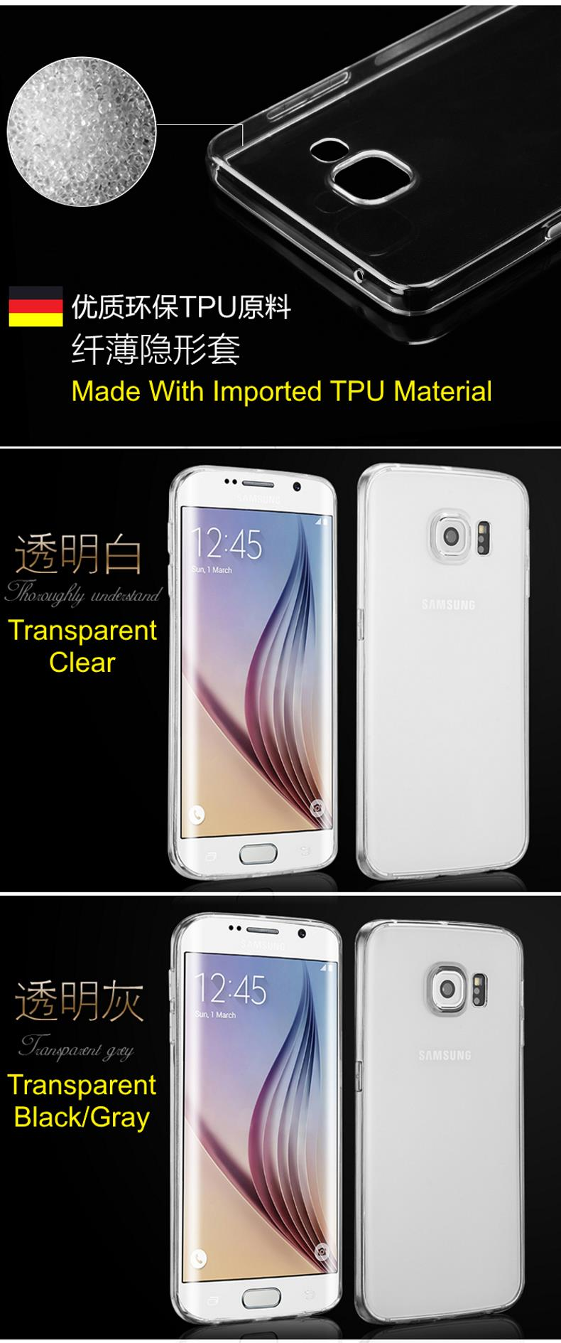 OUCase Samsung Galaxy S6 Edge Anti-Skid Transparent TPU Case