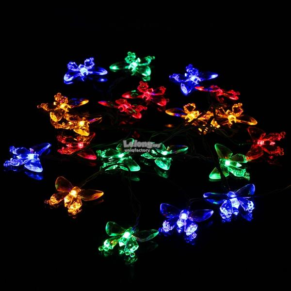 Outdoor LED solar 20 butterfly string light christmas party decor lamp