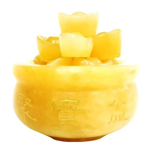 Overloaded Yellow Jade Wealth Pot with Ingots