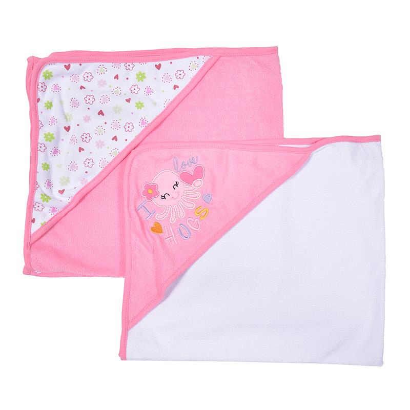 OWEN 2pc Knit Hooded Towel - Pink