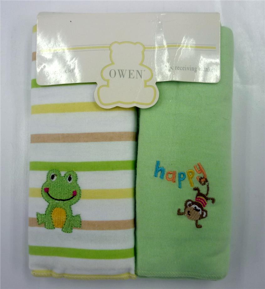 OWEN 2pc Receiving Blankets – Green