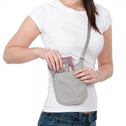 PACSAFE COVERSAFE V75 RFID BLOCKING NECK POUCH - GREY
