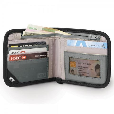 PACSAFE RFIDSAFE V100 RFID BLOCKING BI-FOLD WALLET - NAVY BLUE